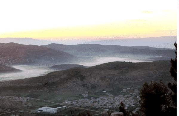Lever de soleil sur Naplouse en 2011