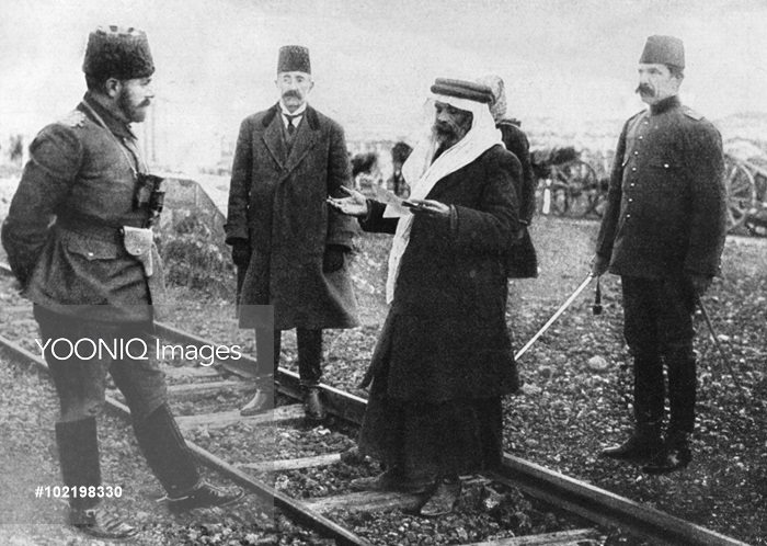 Ahmed Jemal (Djemal, Cemal) Pasha (left), Commander-in-Chief of the Fourth Ottoman Army, being greeted by a Sheik in Turkey during the First World War.