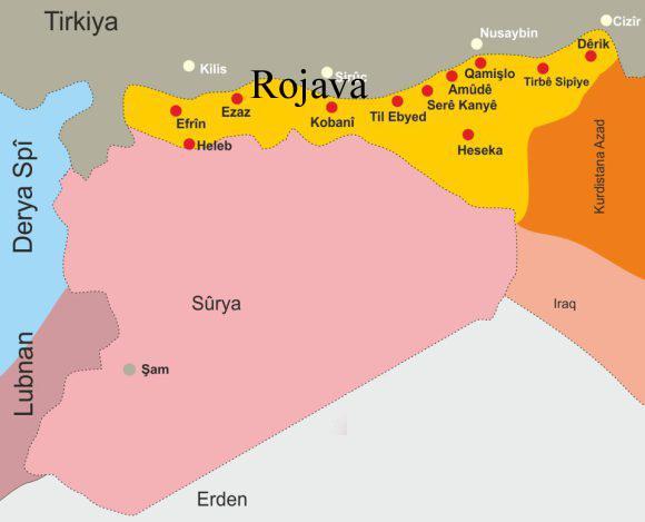 خريطة كردية لمناطق الأكراد في شمال سوريا من موقع rojavanew.blogspot.com