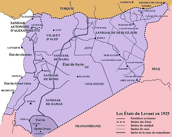 """""""دول المشرق""""  في العام ١٩٢٥ في عهد الإنتداب الفرنسي على سوريا ولبنان"""