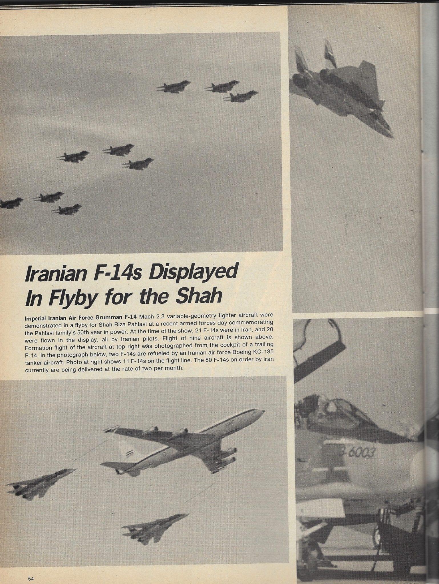 """من أرشيف مجلة """"أفياشين ويك"""": مقاتلات """"غرومان إف-١٤"""" إيرانية تقوم باستعراض أمام الشاه في العام ١٩٧٧! روسيا تستخدم """"اهتراء"""" سلاح الجو الإيراني للتلويح بورقة صواريخ """"إس-٣٠٠"""" كورقة ضغط على طهران قبل أن تكون ورقة ضغط على إسرائيل!"""