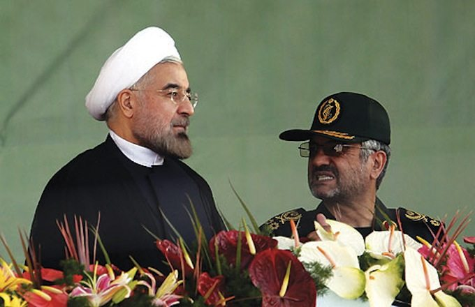 President Rouhani and the commander of the Guardians, Mohammad Ali Jafari