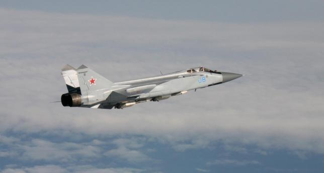 An undated handout photo provided by the Norwegian Army shows a Russian Mikoyan MiG-31aircraft over an unknown location during a military exercise. REUTERS/Norwegian NATO QRA Bodø/Handout