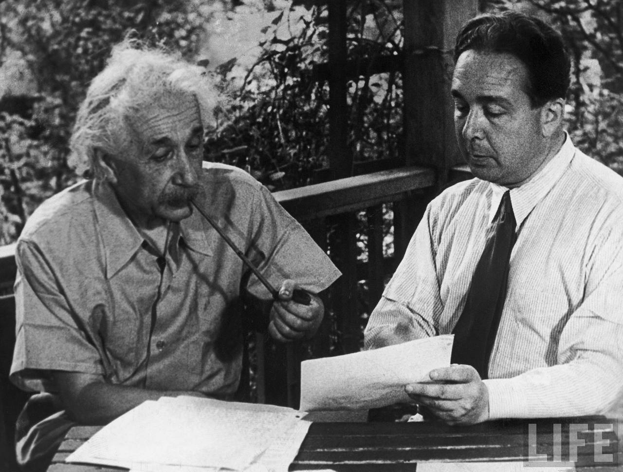 Leo Szilard working with Albert Einstein on his letter to President Roosevelt, which resulted in the Manhattan Project.