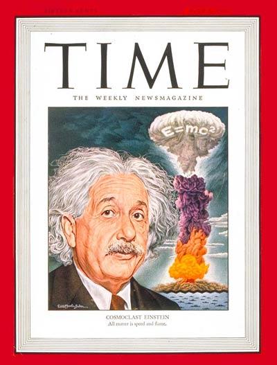 """مجلة """"تايم"""" الأمريكية في يوليو 1946 وهي تعرض معادلة أنيشتاين في تكافؤ المادة والطاقة في السحابة الذرية"""