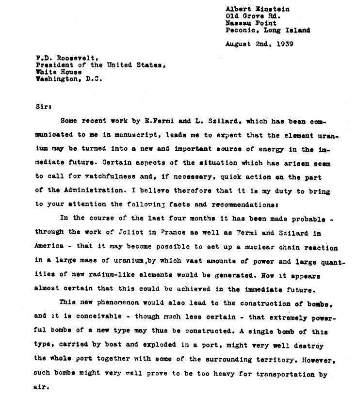 الصفحة الأولى من رسالة ألبرت أينشتاين للرئيس الأميركي روزفلت