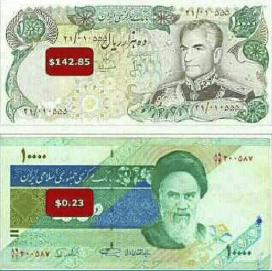 مقارنة بين سعر الف تومان(10000ريال) مقابل الدولار الامريكي في العهدين