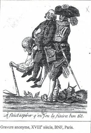رسم فرنسي قديم من القرن ١٨ لفنان مجهول: الشعب يحمل النبلاء ورجال الدين على ظهره