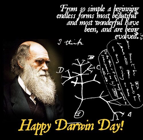 """""""يوم داروين"""" داروين أو """"اليوم العالمي لداروين""""، ويوافق الثاني عشر من شهر فبراير من كل عام، هو تاريخ ميلاد شارلس داروين ويتم الإحتفال باليوم حول العالم وفي المجتمعات العلمية بالذات لتخليد ذكرى تشارلز داروين وتسليط الضوء على إسهاماته الجليلة للعلم، و لترويج العلوم بصورة عامة. وقد بدأ الإحتفال بيوم داروين مباشرةً بعد وفاته في 1882 ."""