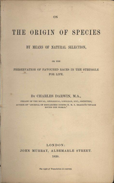 كتاب أصل الأنواع تأليف تشارلز داروين صدر عام 1859. يعتبر أحد الأعمال المؤثرة في العلم الحديث وأحد ركائز علم الأحياء التطوري.
