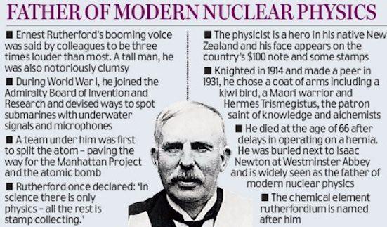 """رذرفورد (Ernest Rutherford) هو عالم فيزياء بريطاني يُعرف بـ""""أب الفيزياء النووية"""" اكتشف في أحد أعماله المبكرة """"العمر النصف"""" للعناصر المُشِعّة (هو الزمن اللازم لتحلل نصف كمية المادة)، الذي بدوره ادى الي علم قياس الإشعاع، وقياسات الرصاص في اليورانيوم أظهرت أن عمر الأرض 4,5 مليار سنة"""