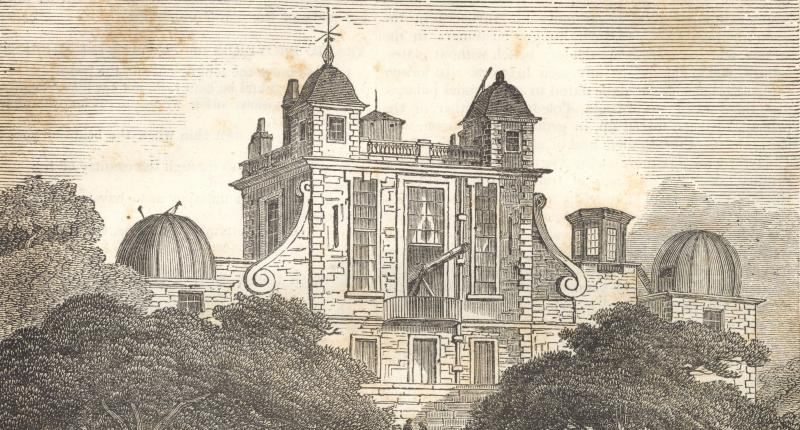"Wikimedia- Greenwich Observatory, image published in ""The Penny Magazine"", Volume II, Number 87, August 10, 1833."