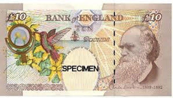 بمناسبة مرور 150 عاما على كتاب أصل الأنواع قامت بريطانيا بطباعة صورة دارون علي ورقها النقدي فئة ١٠ باوند تكريماً لإنجازاته العلمية