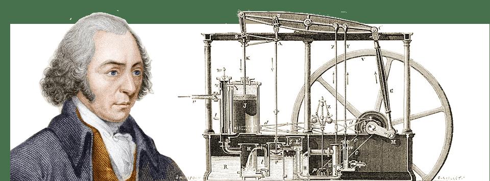 جيمس واط James Watt مخترع اسكتلندي أعطى للعالم في 1765م إحدى أعظم الآلات في التاريخ (المحرك البخاري المكثف) التي فجرت الثورة الصناعية بإدخال القاطرة البخارية، وكانت أول مكنة للنقل البري، وأصبحت لمدة 100 سنة المسيطرة على النقل البري.