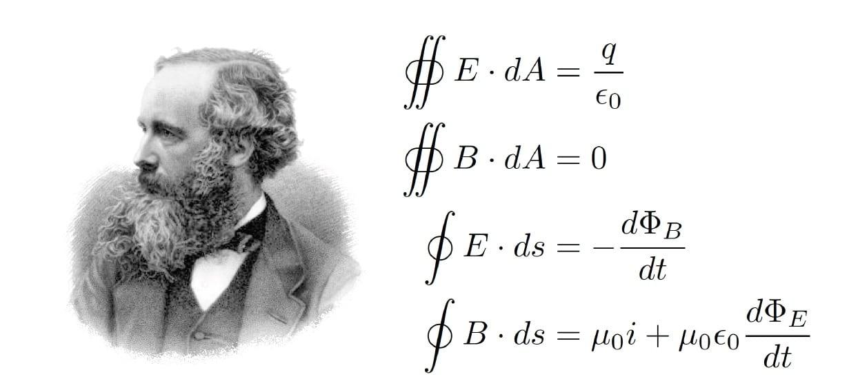 """جيمس كلارك ماكسويل James Clerk Maxwell كان عالم فيزياء اسكتلندياً شهيراً، معادلاته المعروفة باسمه Maxwell's equations  في تفسير ظهور الموجات الكهرومغناطيسية وأنتشارها في الفراغ بسرعة الضوء والتي نشرها في 1865م، مهدت لتقنية البث اللاسلكي و الواي-فاي WiFi ، لتبادل المعلومات، بدلاً من الأسلاك والكوابل، و القادرة على اختراق الجدران والحواجز ، وذات السرعة العالية في نقل واستقبال البيانات و خدمة متصفحي شبكة الإنترنت العالمية. وفي تصويت حول أعظم الفيزيائيين على مر التاريخ جرى في نهاية الألفية الثانية واشترك فيه 100 من أبرز علماء الفيزياء جاء ماكسويل في المركز الثالث بعد نيوتن وأينشتاين مباشرة. وقد وصف أينشتاين نفسه إنجازات ماكسويل العلمية خلال احتفال بمئوية مولد ماكسويل بأنها """"الأعمق والأكثر نفعاً لعلم الفيزياء منذ عصر نيوتن"""". وكان أينشتاين يعلق صورة ماكسويل على جدار مكتبه، إلى جوار صور مايكل فاراداي ونيوتن."""