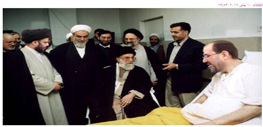 صورة من الأرشيف: المالكي راقداً في مستشفى بطهران، وبجانبه خامنئي ومقتدى الصدر