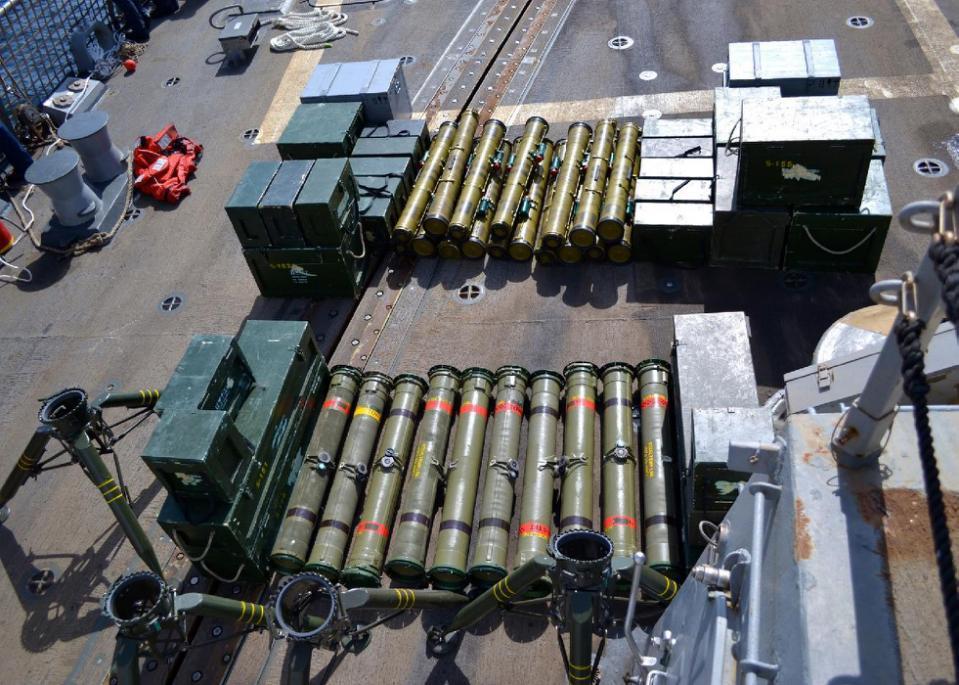 ٢٧ أيلول/سبتمبر ٢٠١٥: حمولة باخرة أعتدة حربية إيرانية كانت موجّهة للحوثيين، وتم اعتراضها في المياه اليمنية