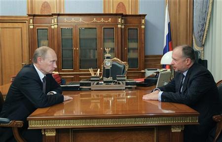 Vladimir Putin meets with Novolipetsk Steel (NLMK) Chairman Vladimir Lisin in Moscow