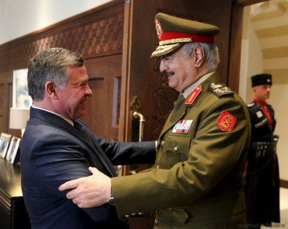 King Abdullah welcomes Haftar in Amman