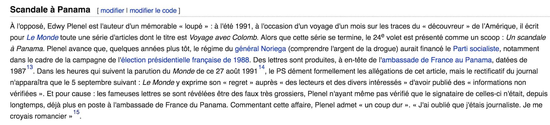 """من الويكبيديا الفرنسية: فضيحة بناما""""، عن """"سقطة"""" إدفي بلينيل في استخدام وثائق مزوّرة زعمت أن الديكتاتور البنامي، نورييغا"""" قام بتمويل الحزب الإشتراكي الفرنسي."""