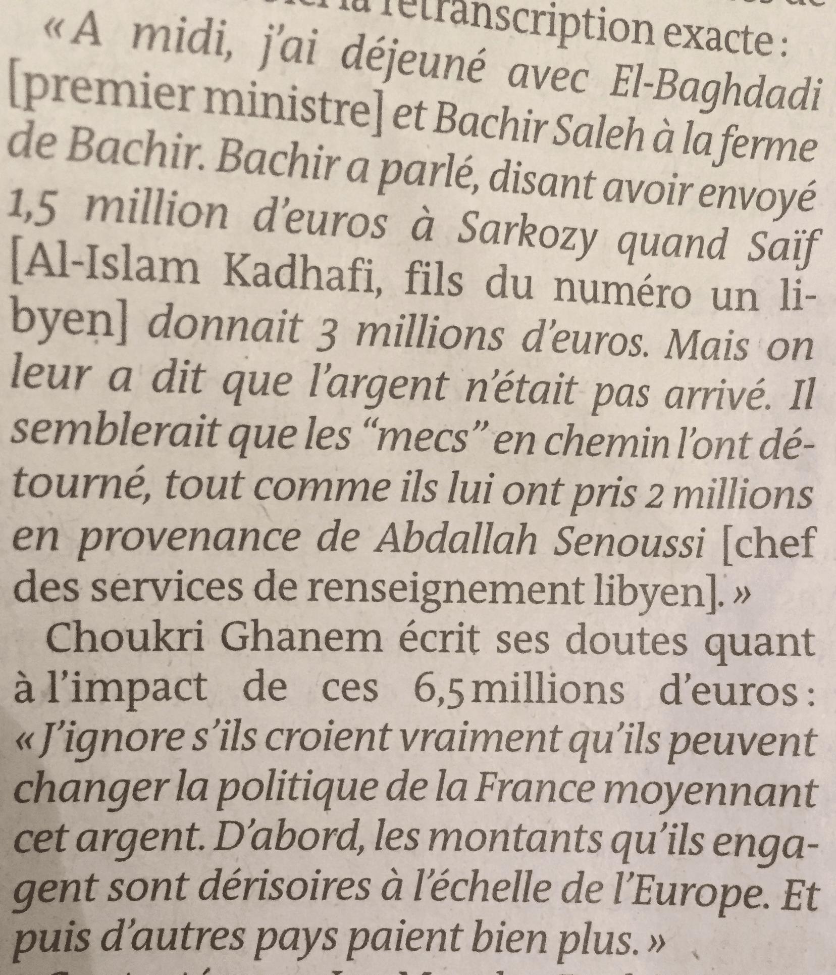 صورة مقطعين تحدث فيهما شكري عن قضية التمويل المزعوم لحملة ساركوزي الإنتخابية