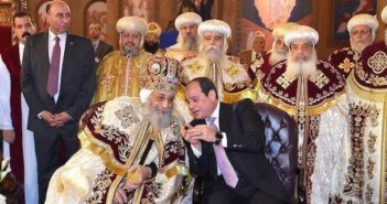 "Egyptian Coptic Pope Tawadros II (L), Pope of the Coptic Orthodox Church of Alexandria and Patriarch of Saint Marc Episcopate receives Egyptian President Abdel Fattah al-Sisi (R), at the new Coptic Cathedral at the new Coptic Cathedral ""The Nativity of Christ"" in the new administrative capital, 45 km east of Cairo, Egypt January 6, 2018"
